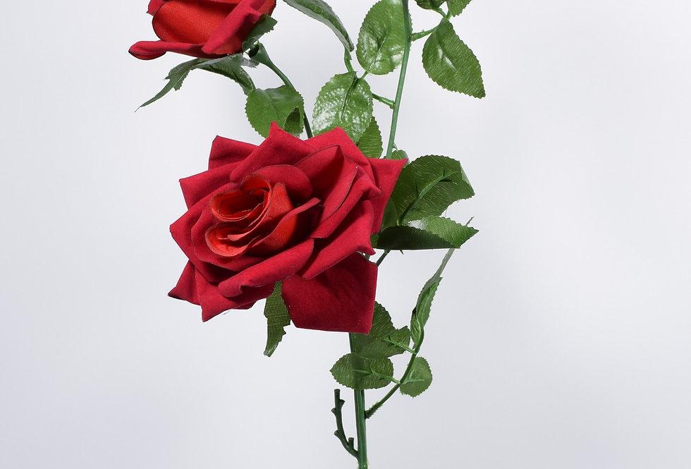 Κλωνάρι τριαντάφυλλο βελούδινο σε κόκκινο χρώμα. Ψεύτικο τριαντάφυλλο.