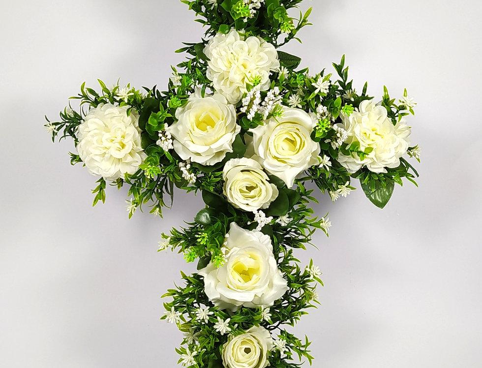 Σταυρός με τριαντάφυλλα μεγάλος - Στεφάνι