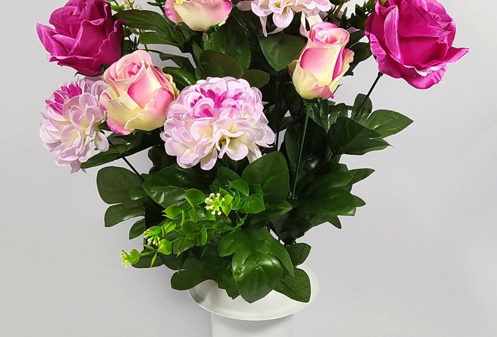 Τριαντάφυλλα με ζήνιες - μωβ - Μπουκέτο σε βάζο
