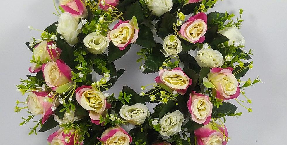 Φούξιαν λευκά τριαντάφυλλα - Στεφάνι