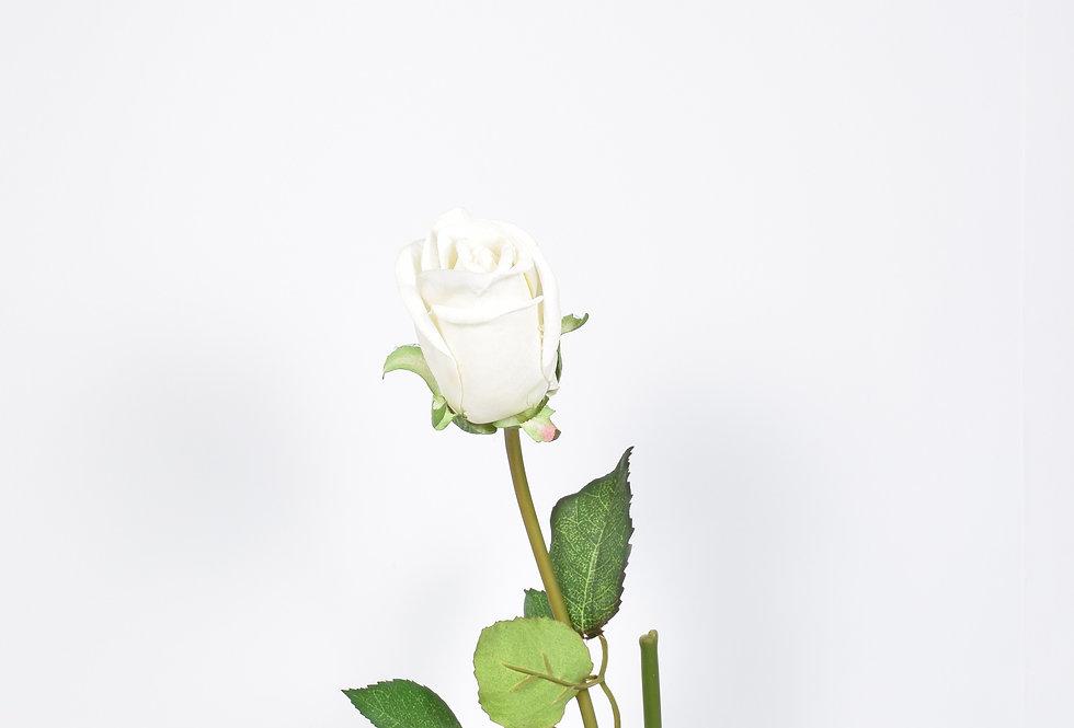 Κλωνάρι με τεχνητόλουλούδι τριαντάφυλλο σε λευκό χρώμα