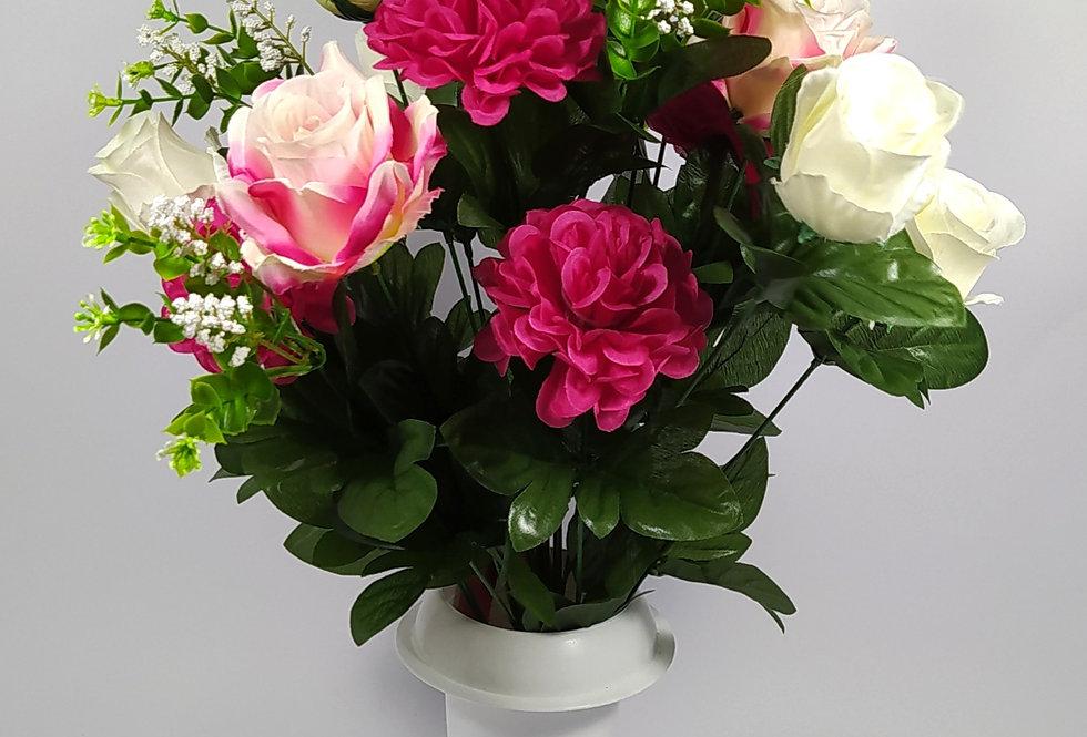 Τριαντάφυλλα με ζήνιες - φούξια - Μπουκέτο σε βάζο