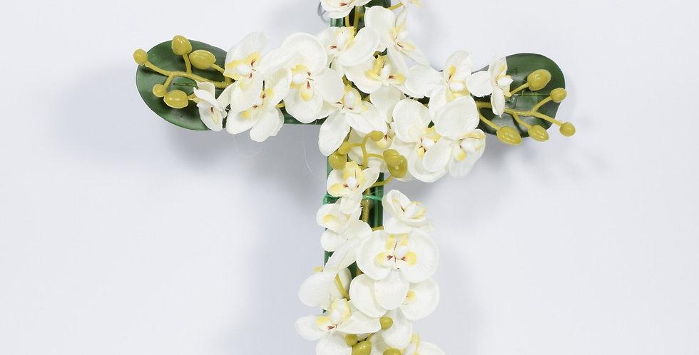 Σταυρός με ορχιδέες λευκές - Στεφάνι