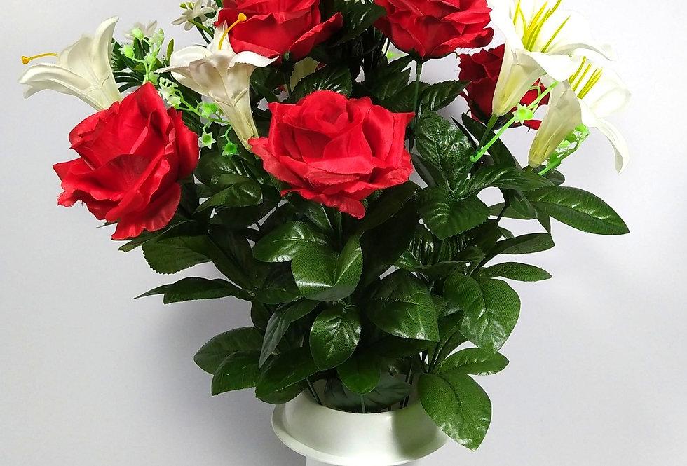 Τριαντάφυλλα κόκκινα κρινάκια - Μπουκέτο σε βάζο