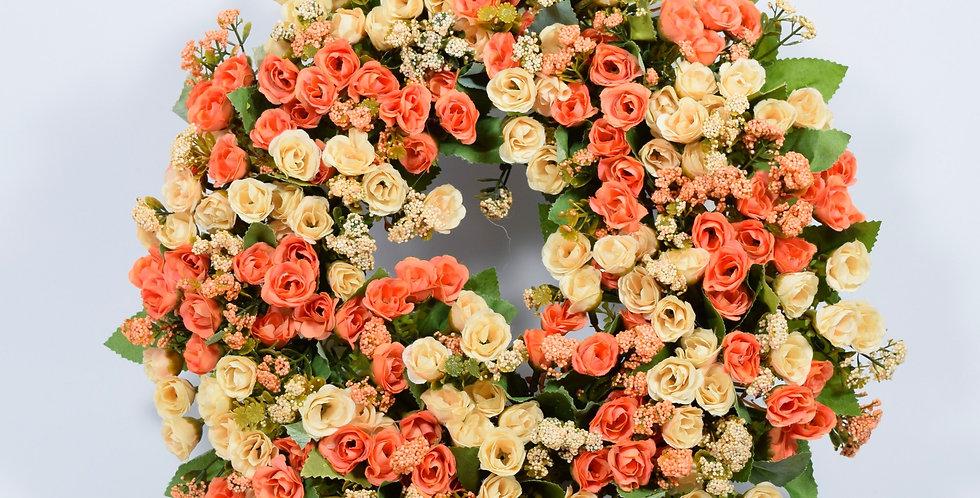 Τριανταφυλλάκια σε γήινα χρώματα - Στεφάνι