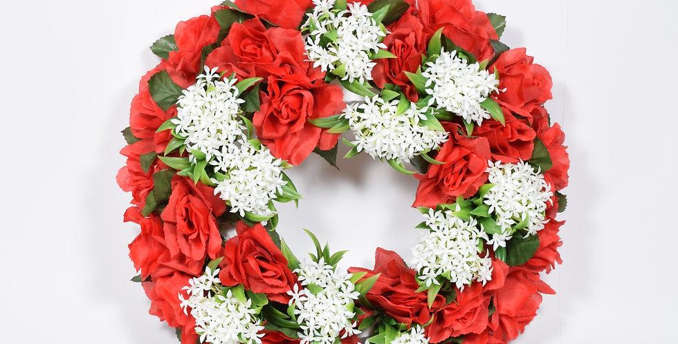 Χειροποίητο στεφάνι με τεχνητά άνθη τριαντάφυλλα και ανθάκι. Βάση από φελιζόλ.