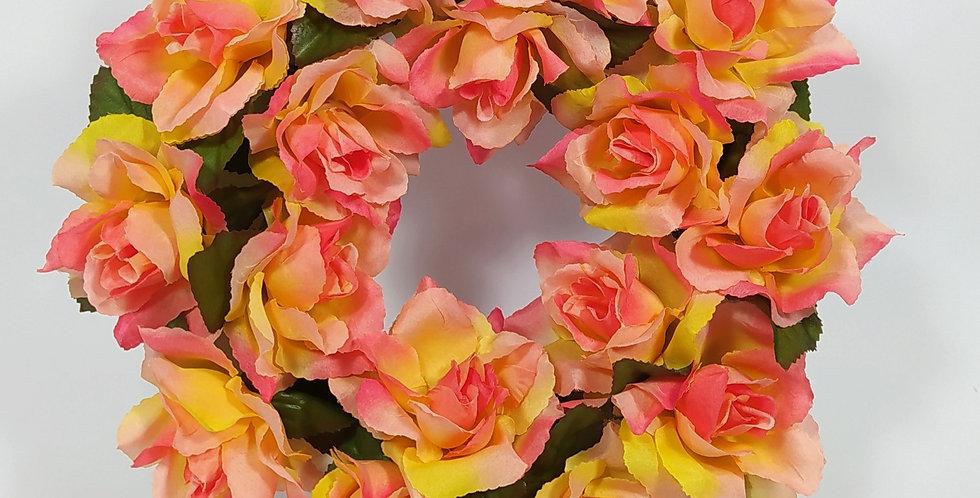 Τριαντάφυλλα πορτοκαλί μεγάλα - Στεφάνι