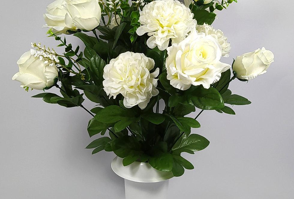 Τριαντάφυλλα με ζήνιες - άσπρο - Μπουκέτο σε βάζο