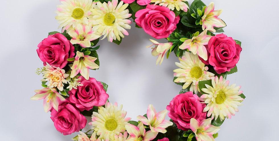 Φούξια τριαντάφυλλα και ζέρμπερες - Στεφάνι