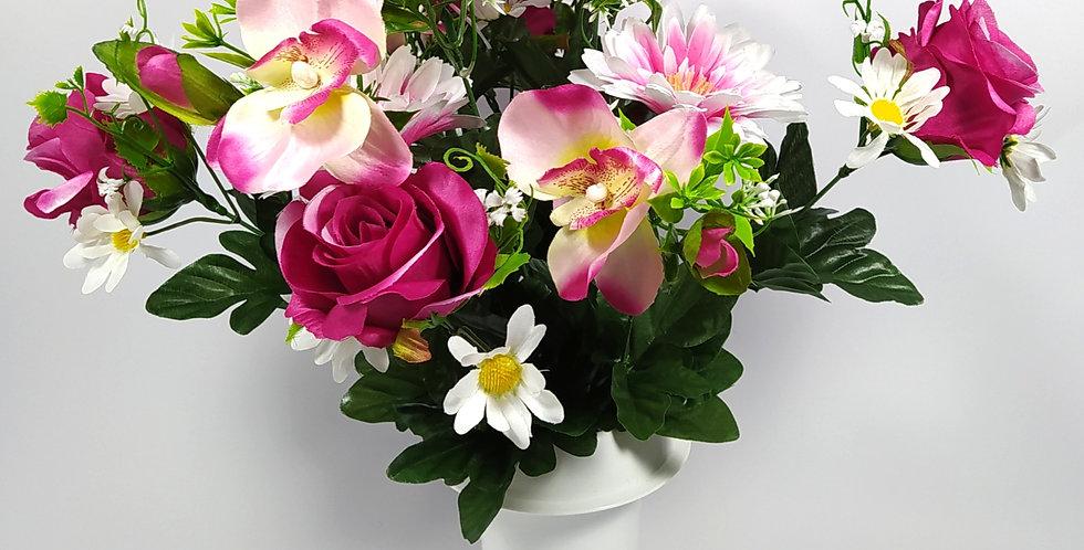 Ζέρμπερες - ορχιδέες - τριαντάφυλλα - φούξια - Μπουκέτα σε βάζο