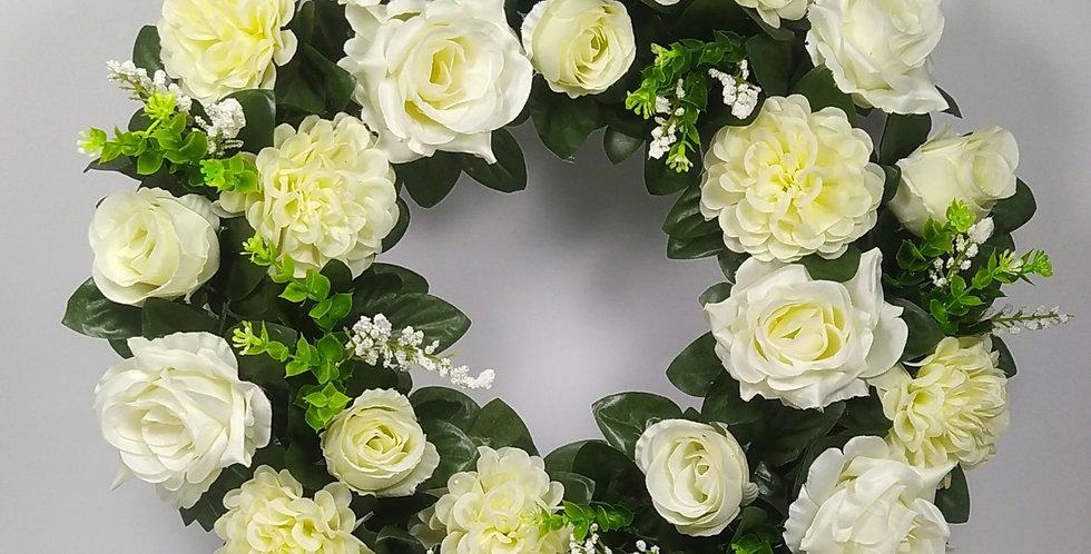 Τριαντάφυλλα και χρυσάνθεμα - Στεφάνι