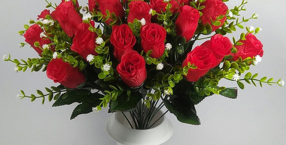 Τριαντάφυλλα μπακαρας κόκκινα - Μπουκέτο σε βάζο