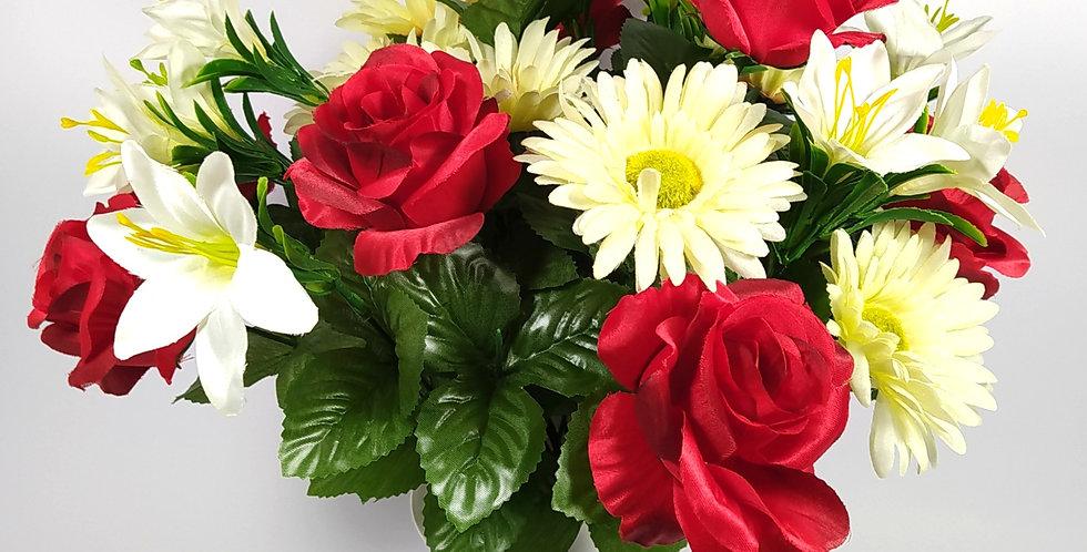 Τριαντάφυλλα κόκκινα - ζέρμπερες - κρινάκια - Μπουκέτο σε βάζο