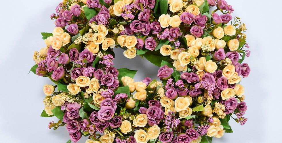 Τριανταφυλλάκια σε γήινα χρώματα μωβ και εκρού - Στεφάνι