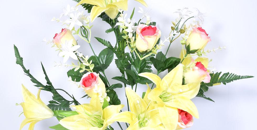 Μπουκέτο με τεχνητά άνθη, κρίνους και τριαντάφυλλα, σε 2 χρωματικούς συνδυασμούς