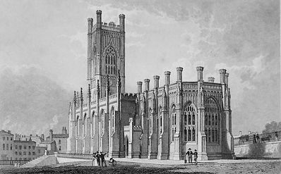 Engraving of St. Luke's Church after completion in 1832.