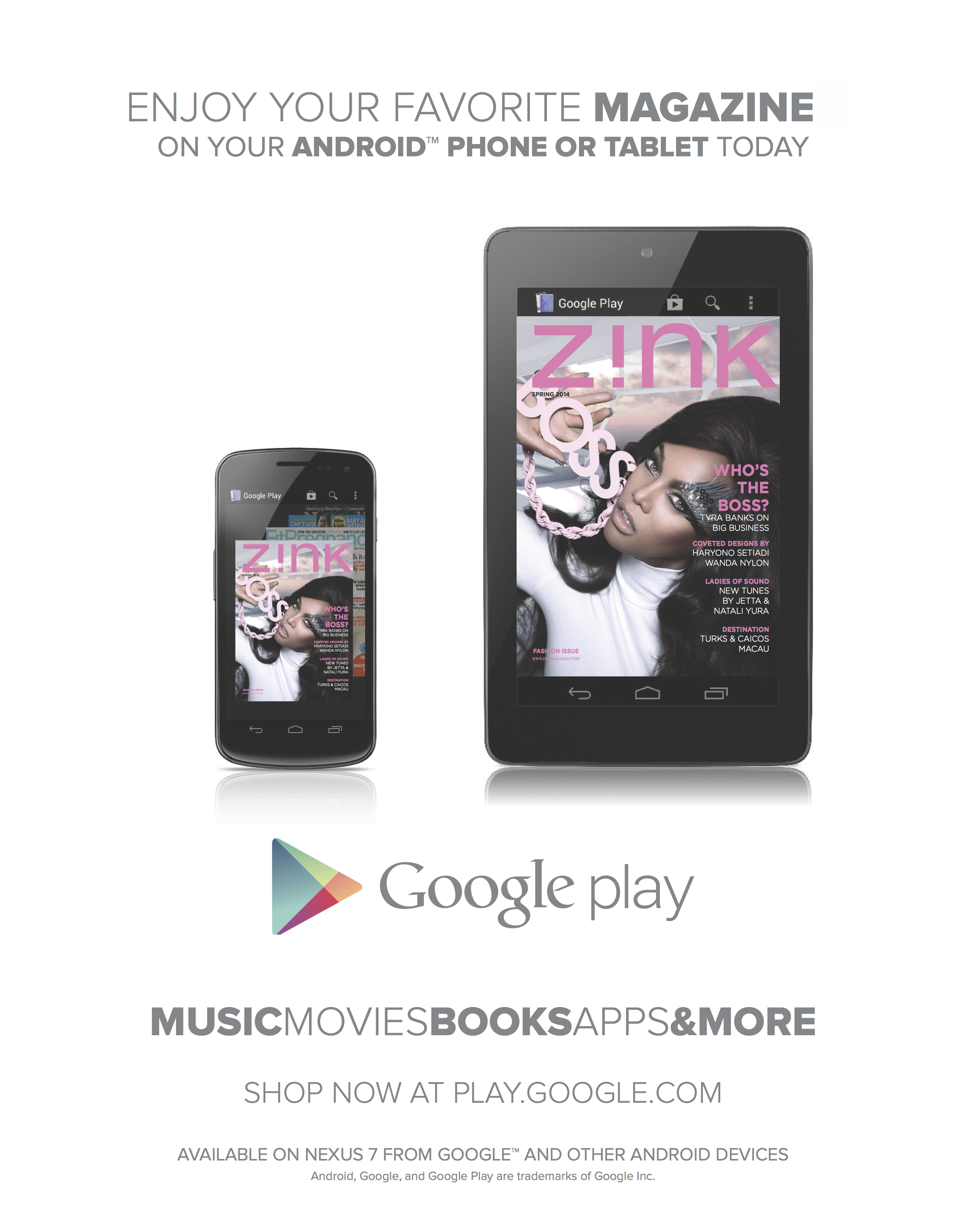 Google Play Ad - Z!NK Magazine