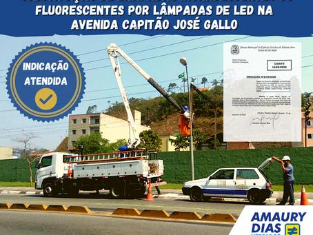 SUBSTITUIÇÃO DE LÂMPADAS INCANDESCENTES POR LÂMPADAS DE LED NA AVENIDA CAPITÃO JOSÉ GALLO 💡