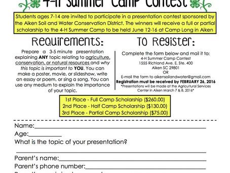4-H Summer Camp Contest