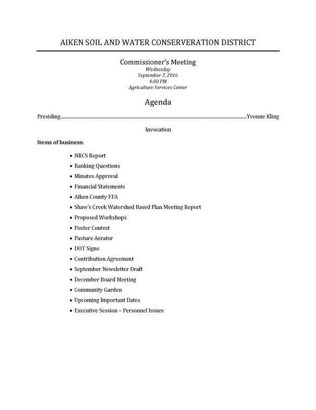 September Board Meeting Agenda | Aikenswcd