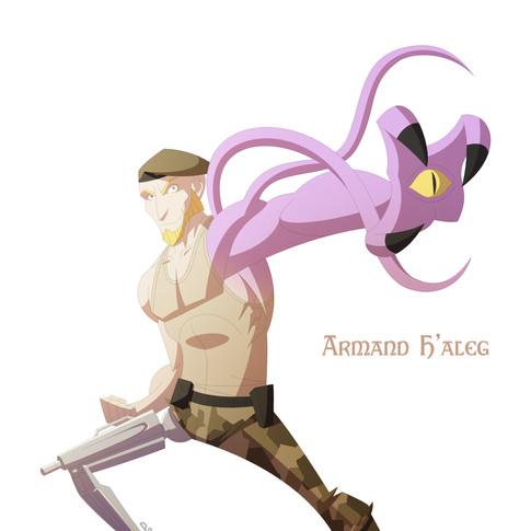 Armand H'aleg - Mechanically & magically enhanced mercenary! Frequent antagonist to Myth Smith.