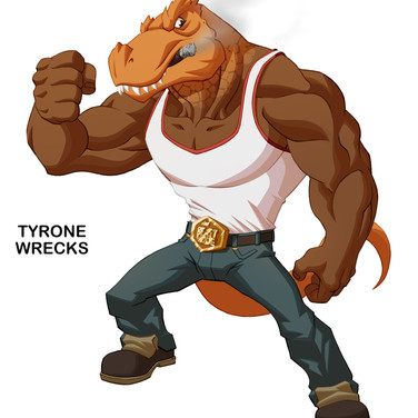 Tyrone Wrecks - Subject of inhumane scientific experimentation, the half human/ half T-Rex bruiser is a loyal friend to Myth Smith.