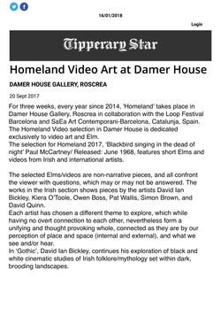 Homeland Video Art at Damer House - Tipperary Star