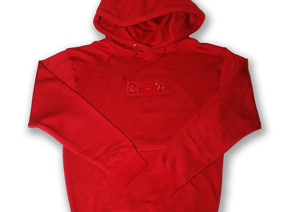 Embroidered Rubicund Red Hoodie