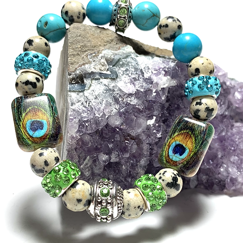 Dalmatian jasper and turquoise with peacock beads and rhinestones