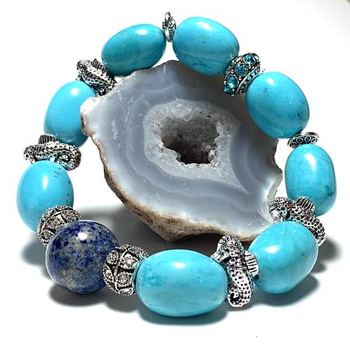 Chunky large Lapis Lazuli with metal seahorses and rhinestone charms