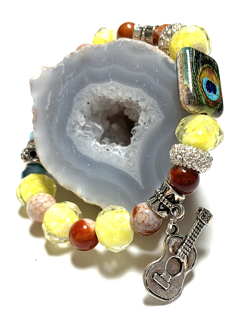 Peacock bead with Yellow and mixed beads with Guitar charms