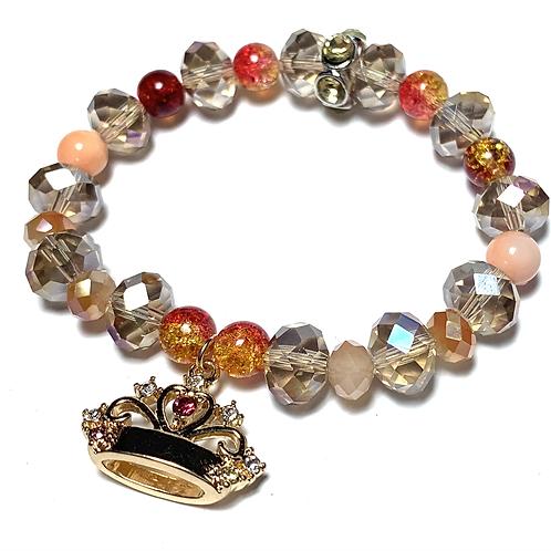 Pretty gold toned rhinestone crown with mixed semi precious stones