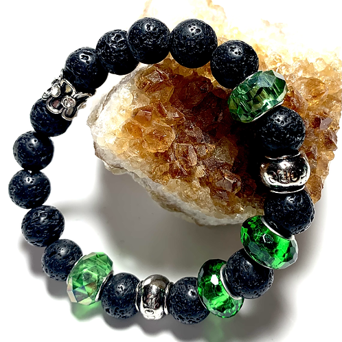 Black Lava Beads with mixed green and metal beads