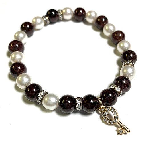 Healing Red Garnet with pearls and gold toned crystal key