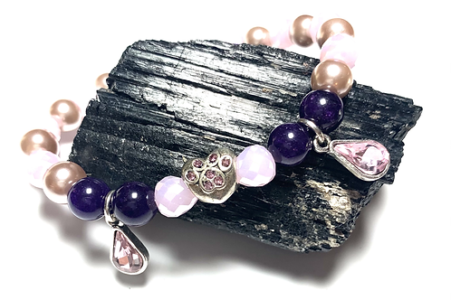 Vintage pearls with pink crystal beads with rhinestone heart paw