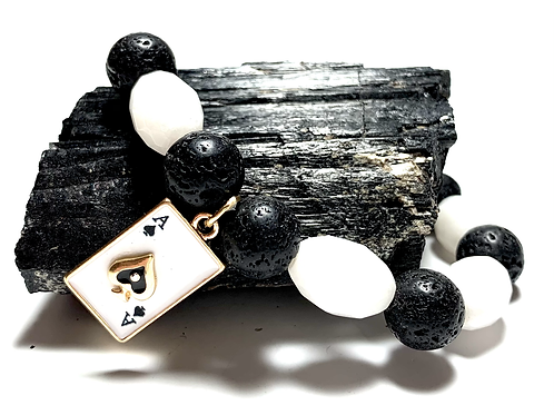 Ace of Spades black Lava beads and white bead