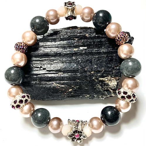 Gray jade mixed beads with vintage pearls and rhinestones