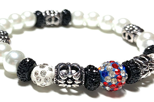 Mixed pearl beads with metal and rhinestone connectors with union jack ball