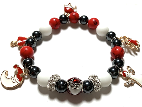 Santa Bead with Healing Hematite beads with 5 charms