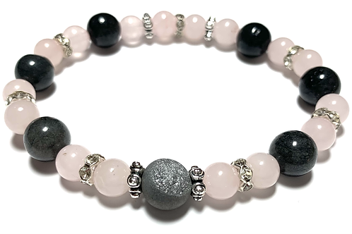 Stunning Druzy quartz stones with grey Jade and Rose Quartz beads
