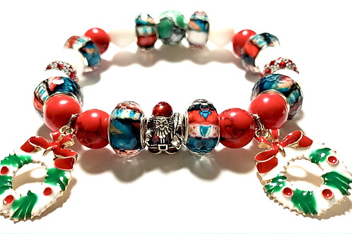 Santa Bead with 2 wreath charms