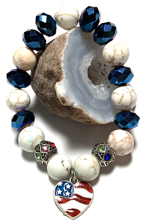 USA Heart Charm with healing magnesite and blue crystal beads