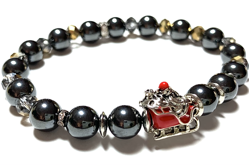 Healing Hematite beads with red enamel sleigh