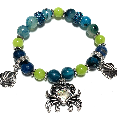Blue and Green mixed semi precious beads with three ocean charms