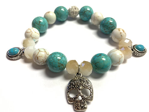 Turquoise and White beads with charms and Silver filagree skull