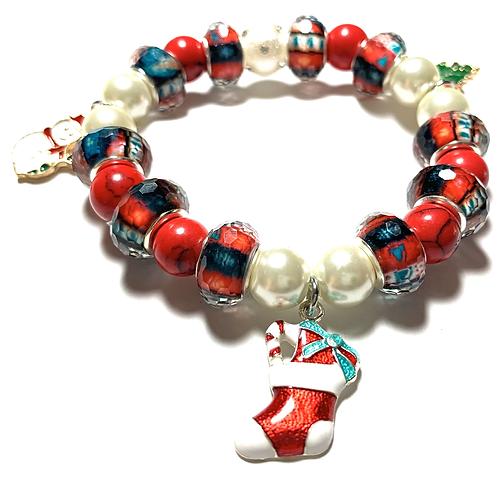 Enamel Christmas Tree Snowman and stocking charms