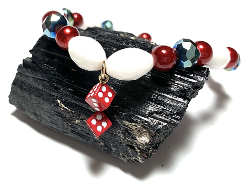 Vegas Red Dice with red and white semi precious beads with crystal beads