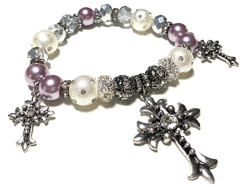 3 Metal rhinestone crosses with pearls and crystals beads