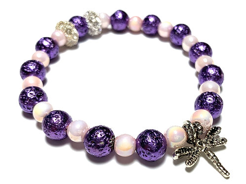 Dragonfly charm with purple and light pink mixed bead with rhinestones