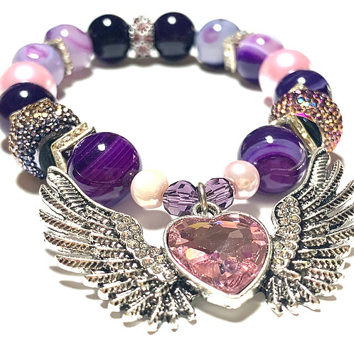Purple and Pink Mixed beads with Gorgeous Metal Heart and Wings